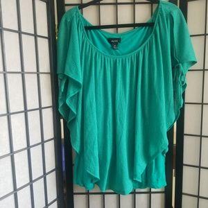 Alyx teal blouse 3x cold shoulder